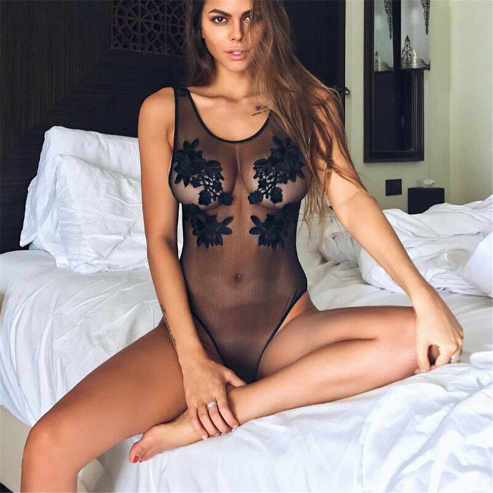Floral Embroidery Hollow Out Lace Bodysuit