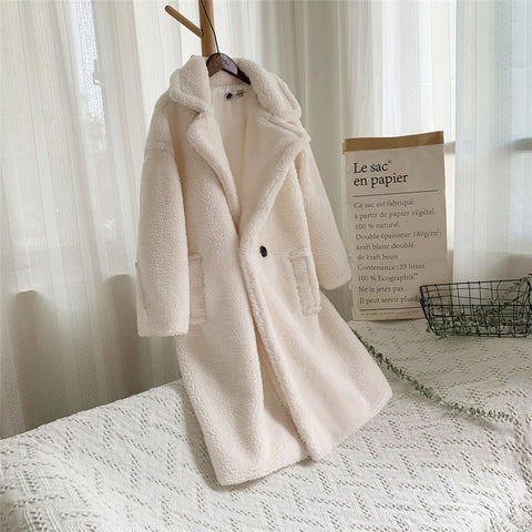 Loose Medium Long Windbreaker Lamb Coat