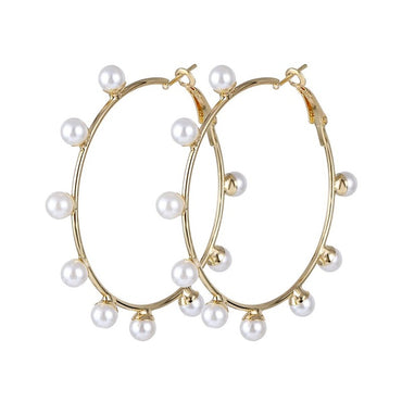 Geometric Gold Pearl Dangle Earring