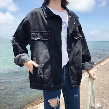 Turn-down Collar Black Loose Denim Jackets