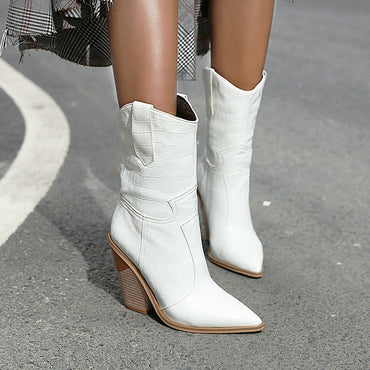 Pu Leather Wedge High Heel Ankle Boots