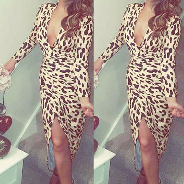 Bandage Bodycon Long Sleeve Leopard Print Dress