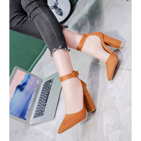 Pointed Toe Pumps Ankle Strap Heels