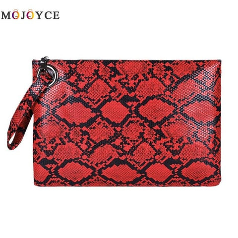 Fashion Snake Print Wristlet Clutch