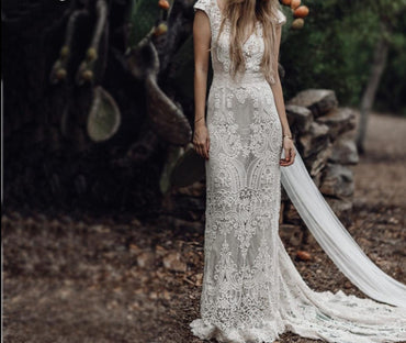 Unique Bride Vintage Crochet Lace Boho Wedding Dress