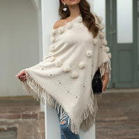 O-Neck Solid Hairball Tassel Cloak Loose Shawl Sweater