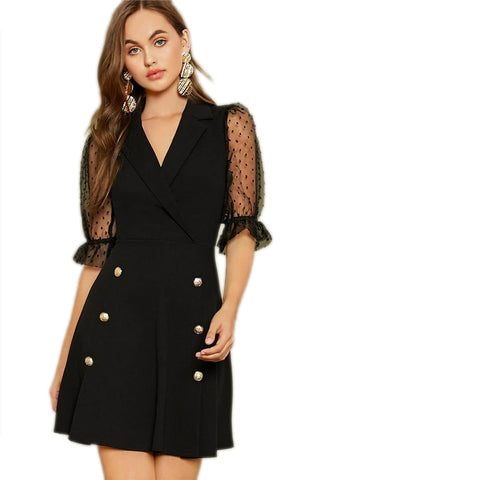 Notch Collar Double Button Front Office Dress