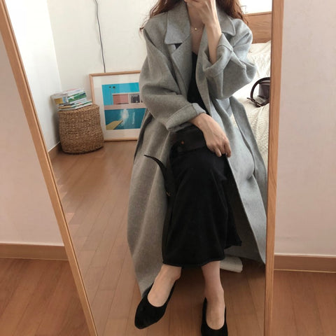 Oversize Long with belt Wool Coat
