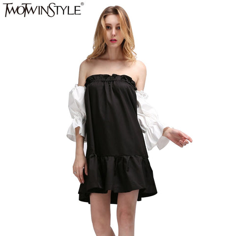 black hit white ruffles off the shoulder dress
