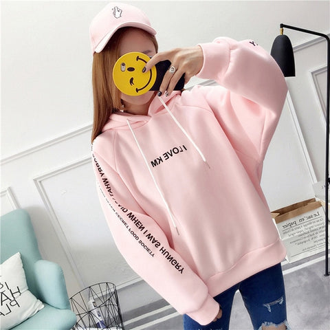 Thick Loose Letters Printed Hoodies