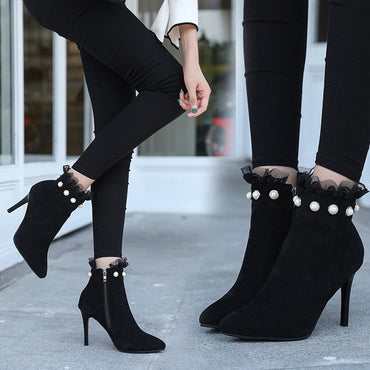 Short Suede Stylish Ruffles Ankle Boot