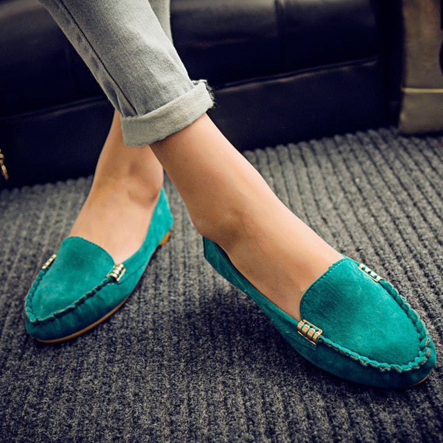 Faux Suede Slip on Flat Shoes