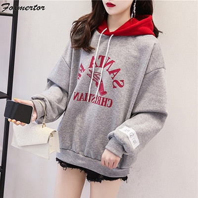 Letter Long Sleeve Color Stitching Hoodies