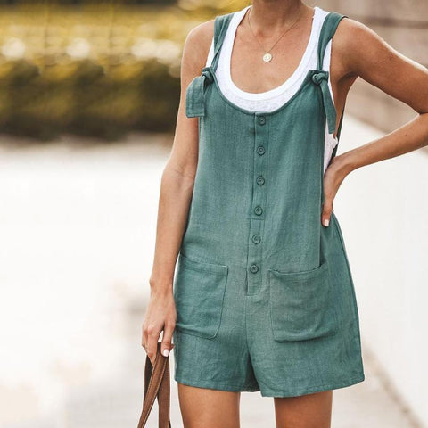 Cotton Pocket Suspender Button Romper