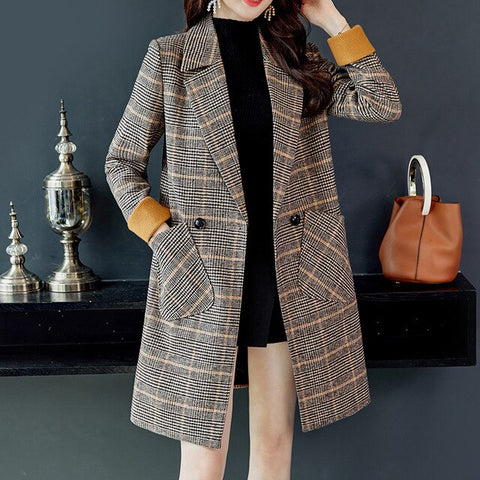 Wool Plaid Pockets Long Coats