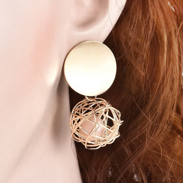 Round Hollow Pearl Earring