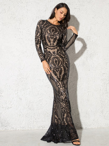 Long Sleeve Sequined Maxi Dress