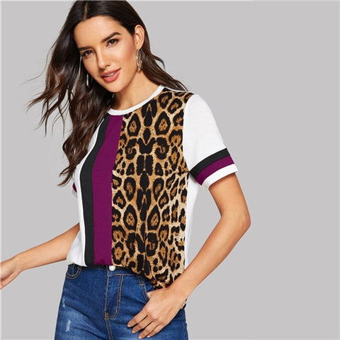 Color Block Cut-and-Sew Leopard Panel O-Neck Casual T Shirt
