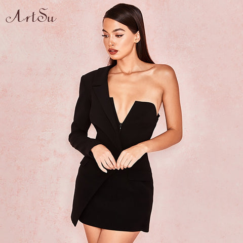 One Shoulder Sexy Backless V-neck Dress