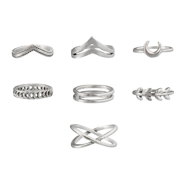 7Pcs Simple Geometric Rings