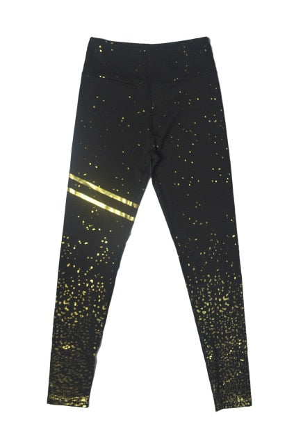 Transparent Metallic Foil Print Leggings