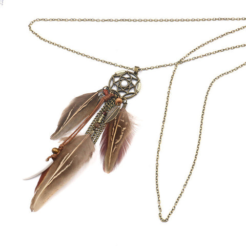 Long Chain Feather Pendant Necklace Accessories