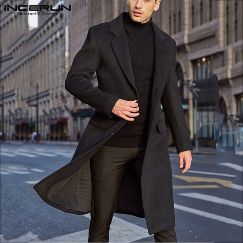 Plain Long Sleeve Faux Fleece Trench Overcoats