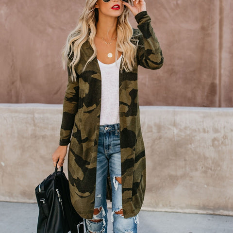 Long Sleeve Print Loose Long Cardigan