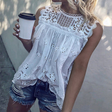 White Lace Hollow Out Cotton Shirt