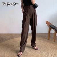High Waist Pocket Elegant Straight Trousers