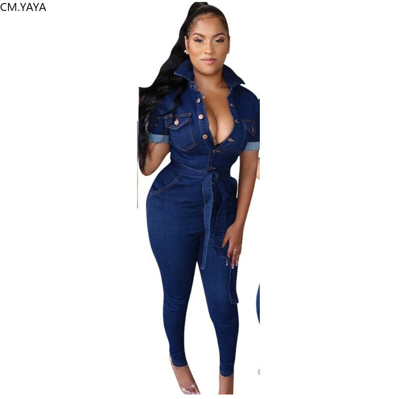 Roll-up Sleeve Sashes Bodycon Jumpsuit