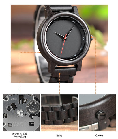 Japanese Movement Clock Simple Wooden Strap Wristwatch