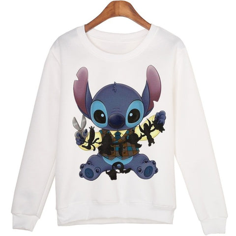 Casual Stitch Cartoon 3d Print O-neck sweatshirt