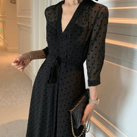 Sexy Perspective Point Long Sleeve V-neck Dresses