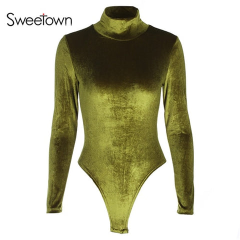 Sweetown Casual Velvet Long Sleeve Bodysuit