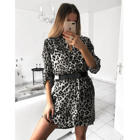 Sexy Print Long Sleeve V-Neck Dress