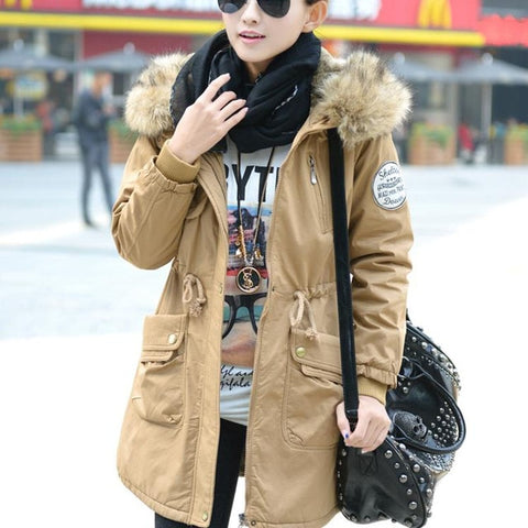 Cotton Padded Long Fur Hooded Coat