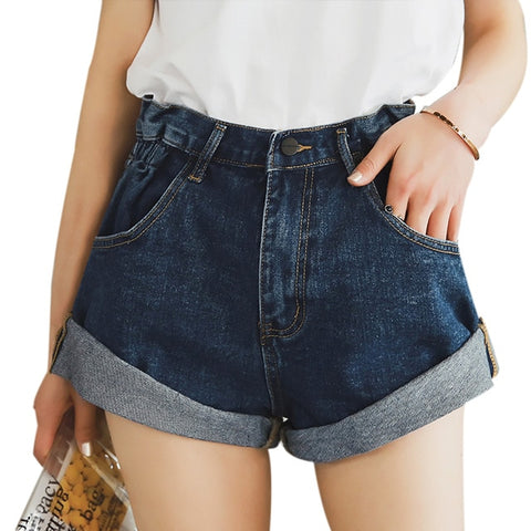 Vintage High Waist Crimping Short Denim