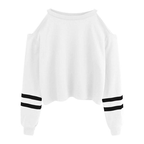 Off Shoulder Long Sleeve O-neck Casual Sweatshirt