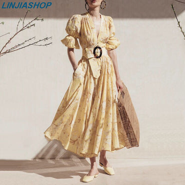 sahes lining A line lantern sleeve print midi dress