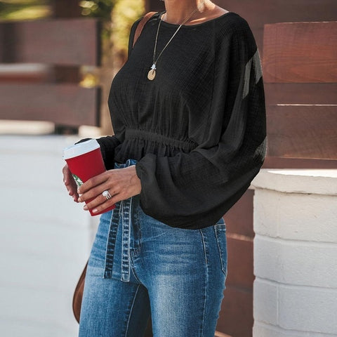 Loose Ruffles Short O-neck Long Batwing Sleeve Knitted Tee Top