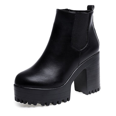 Leather High Heel Black Boots