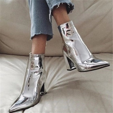 Patent Leather Pointed Toe Ankle Boots