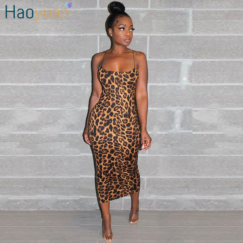Sexy Cheetah Leopard Print Midi Dress