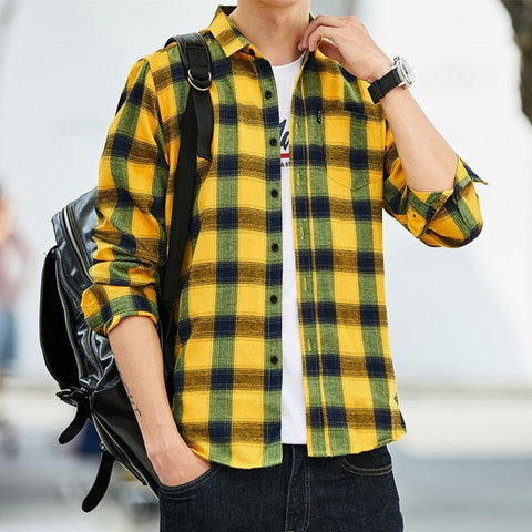 Plaid long Sleeve Dress Shirts
