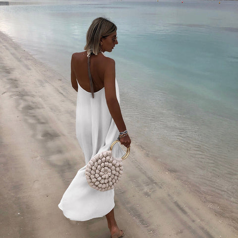 Deep V-Neck Beach Dress