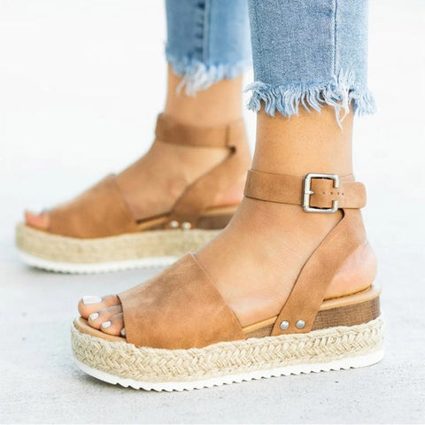 Suede Look Buckle Ankle Wedges Sandals
