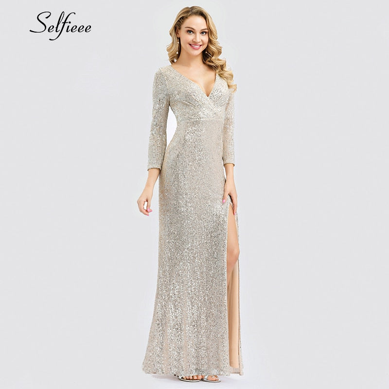 Sequined V-Neck Side Split Dress
