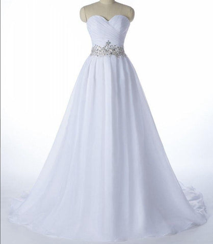 A line  Lace Up Strapless Wedding Dresses