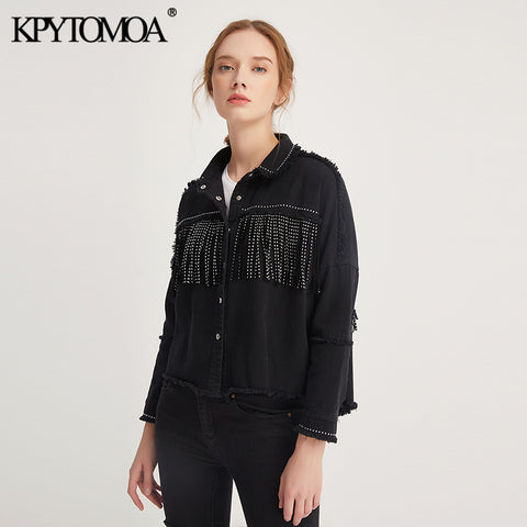 Vintage Stylish Fringe Beaded Oversized Jacket